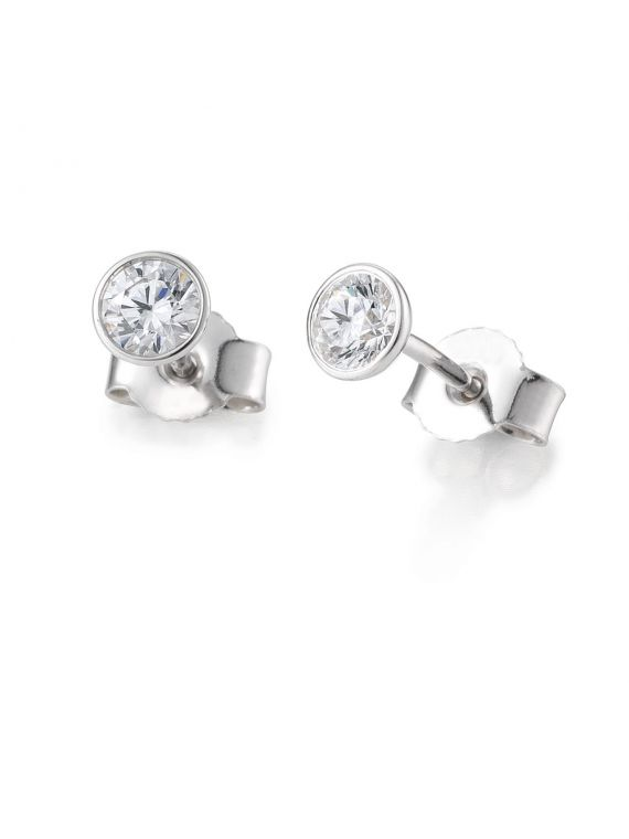 Bezel setting stud earrings
