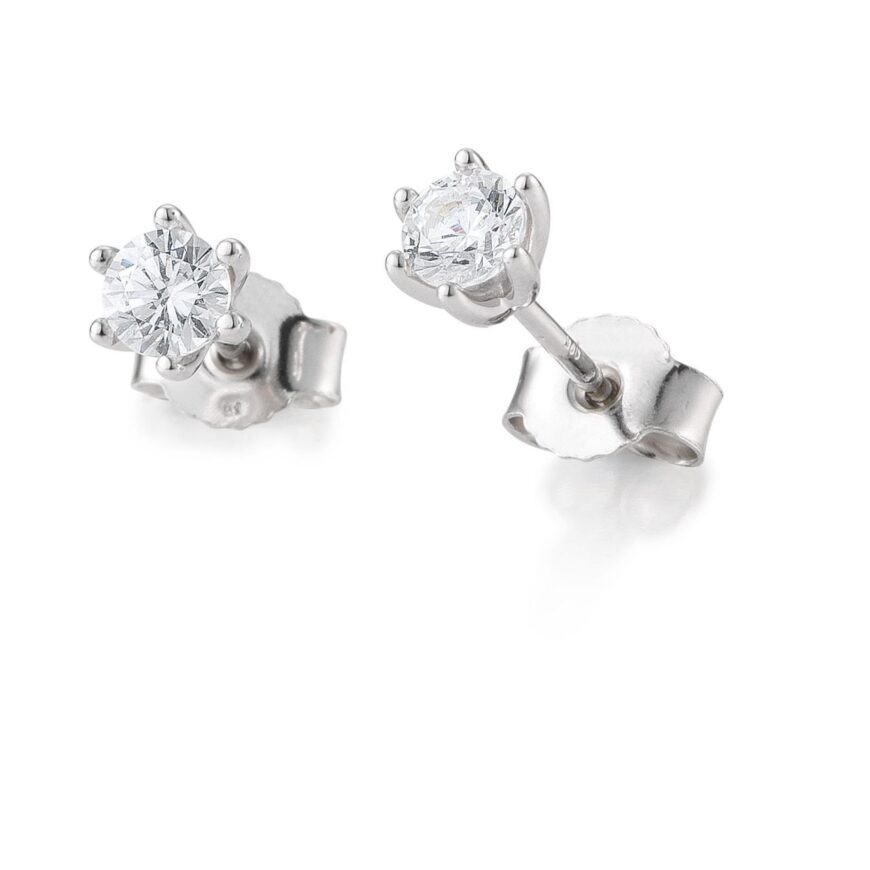 BREUNING white gold Solitaire earrings with diamond.