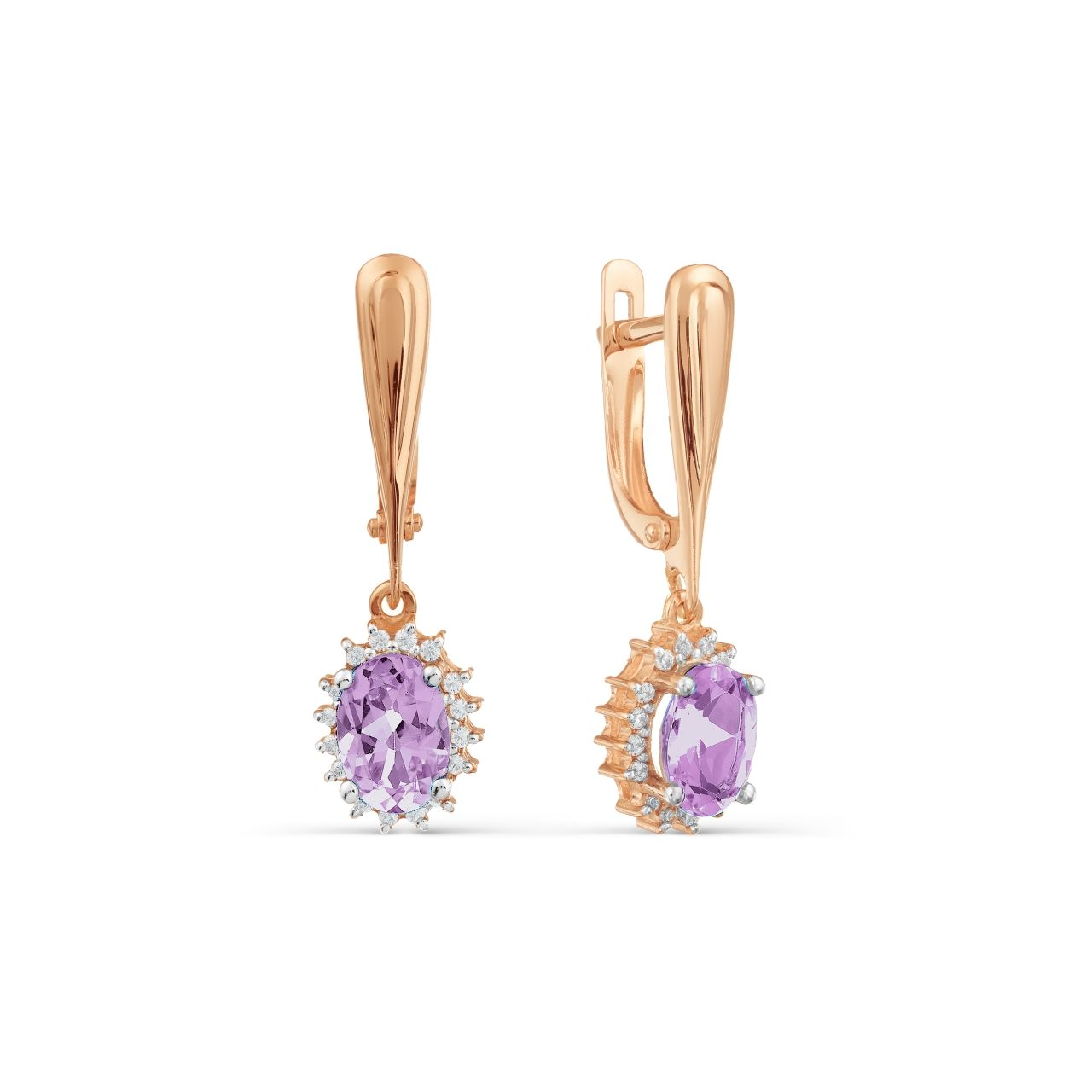 Rose Gold Amethyst Earrings