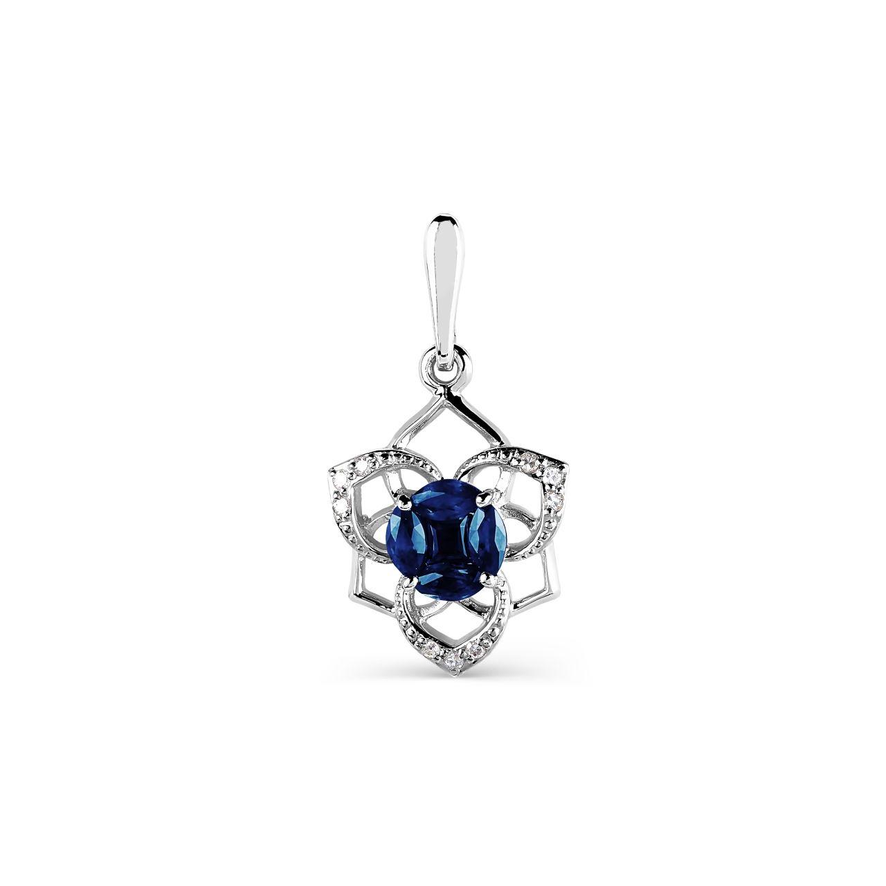 Goldsmithore diamond white gold pendant with sapphire diamond white gold pendant with sapphire aloadofball Image collections