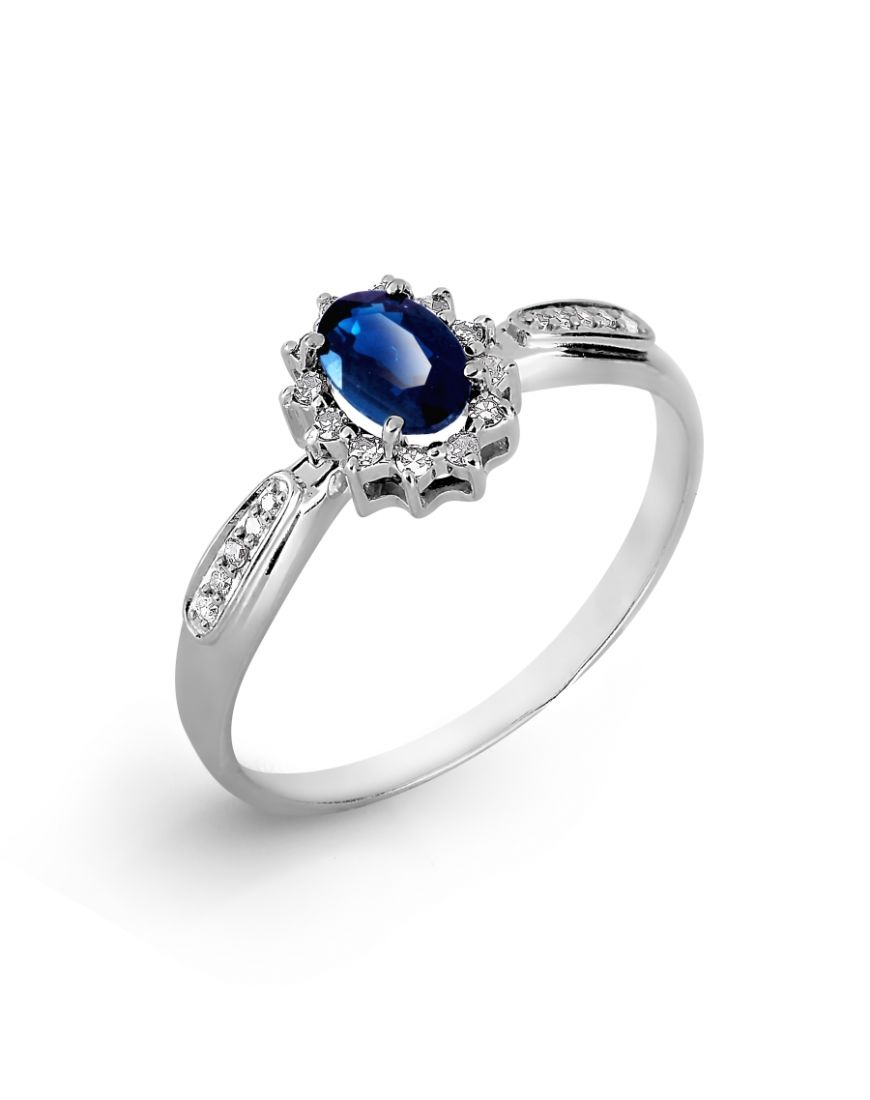 Goldsmith.store - Diamond white gold ring with sapphire