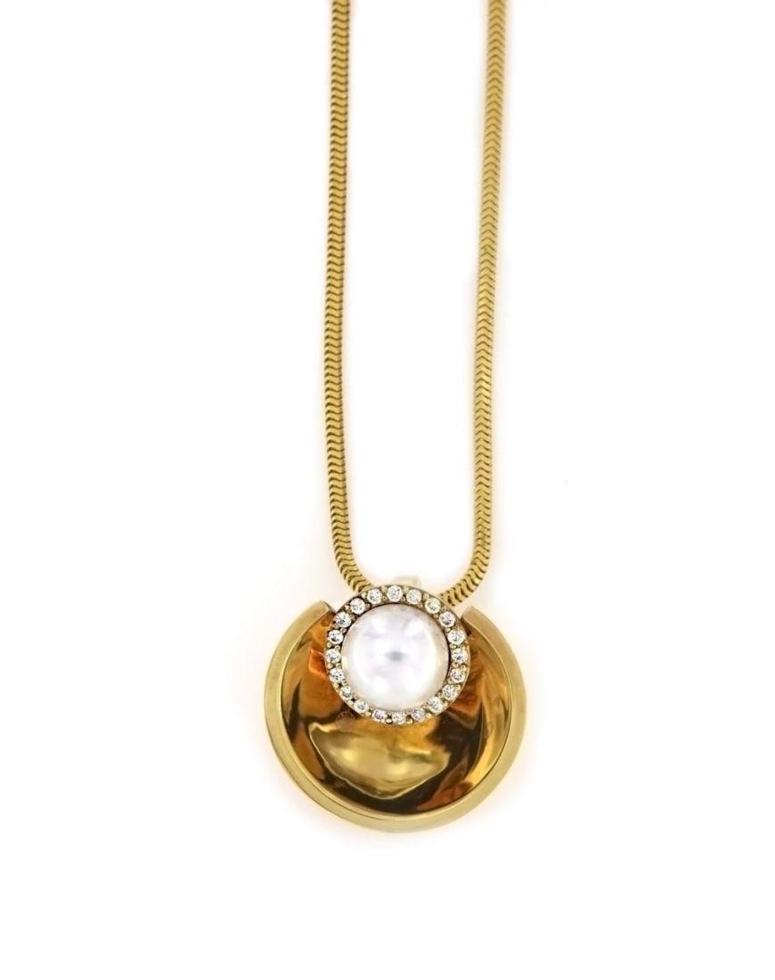 Goldsmithore diamond gold pendant with pearl diamond gold pendant with pearl aloadofball Gallery