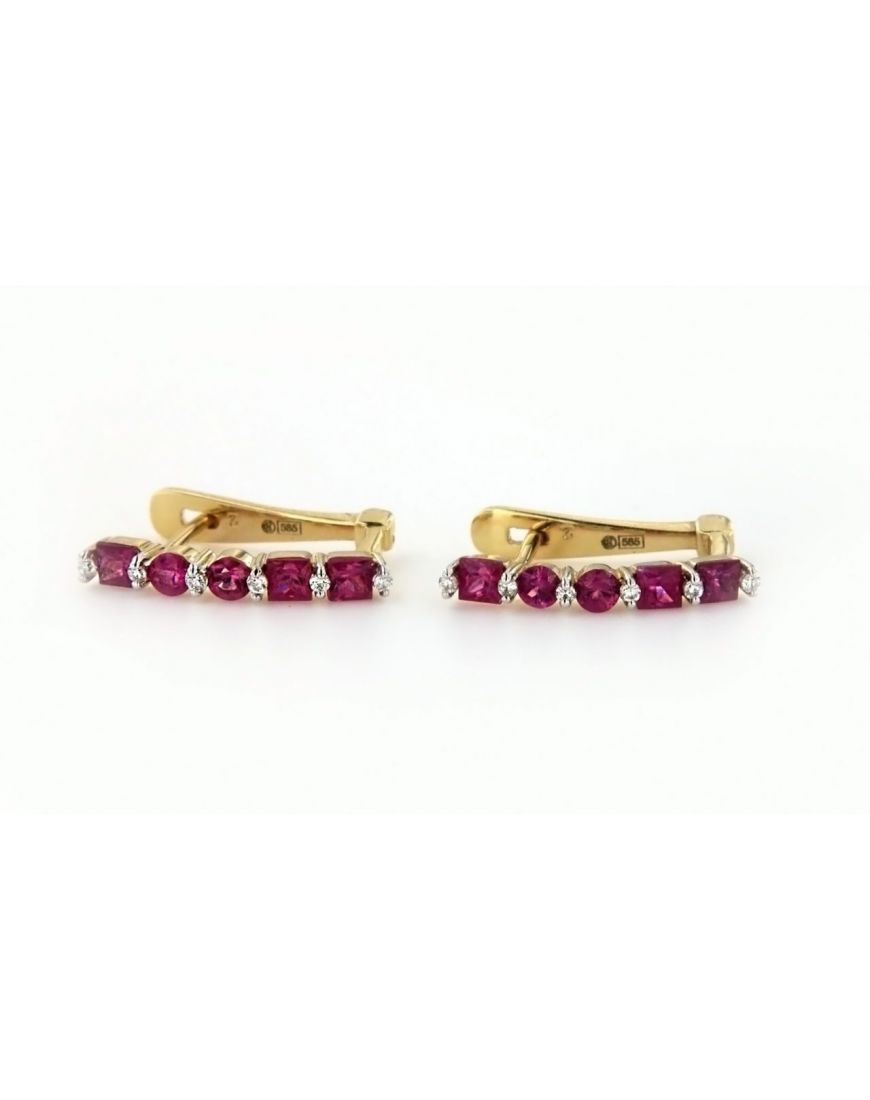 Diamond Gold Earrings With Ruby