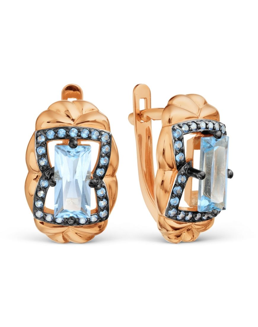 Kuldkõrvarõngad tsirkoonidega ja topaasiga GERMAN juveel