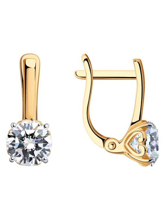 SOKOLOV Sterling silver gold plated Earrings with Swarovski Crystal