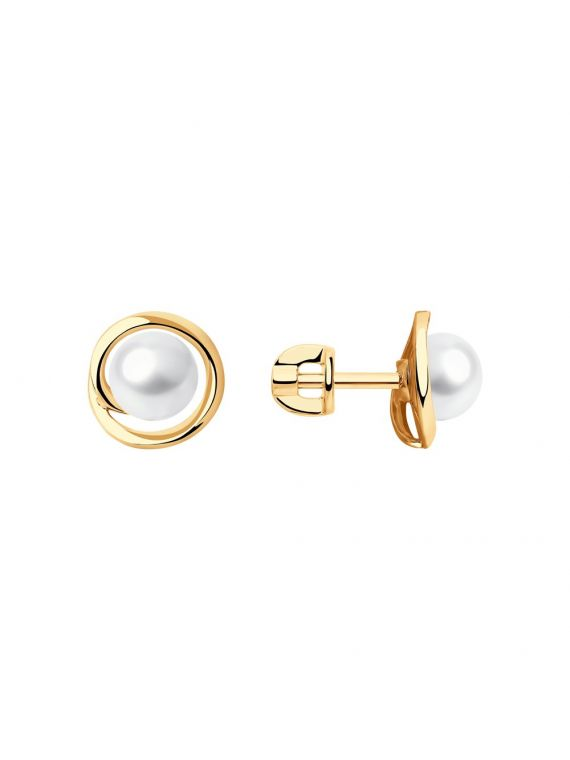 14K red gold earrings with fresh water pearls