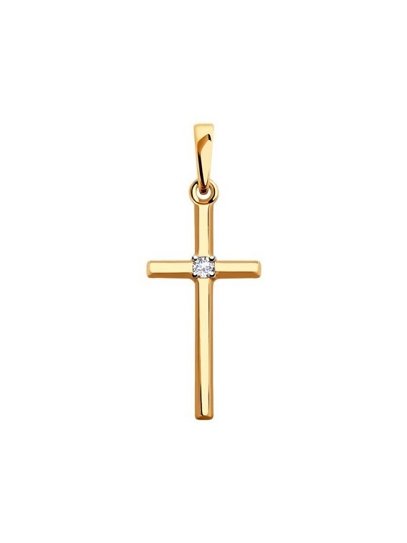 Made in 14K rose gold cross pendant with CZ stones.