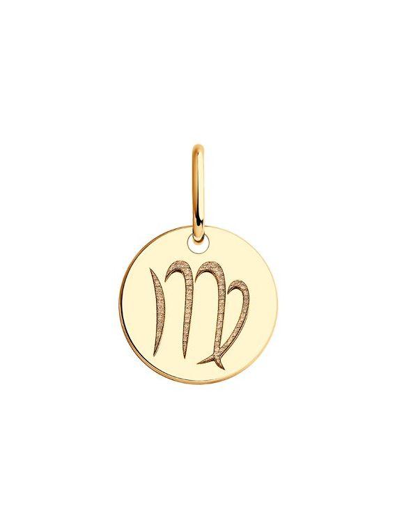 Подвеска из красного золота знак зодиака Дева.