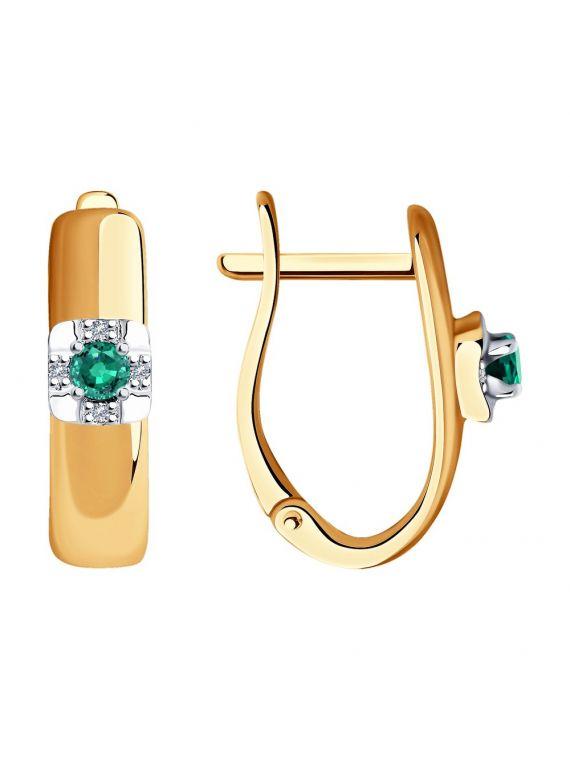 Diamond and Emerald Earrings SOKOLOV