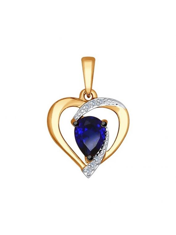 14K Gold Diamond pendant with lab. sapphire