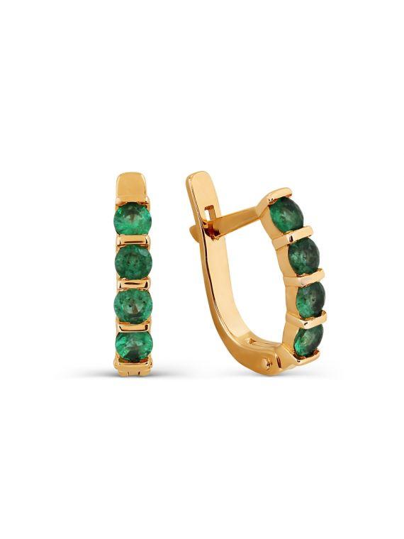 Kuldkõrvarõngad smaragdidega