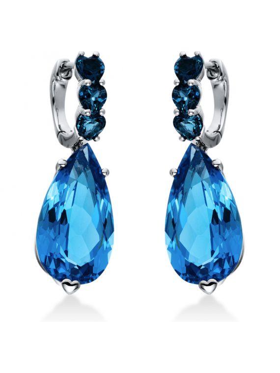 London Blue Topaz 18k White Gold earrings.
