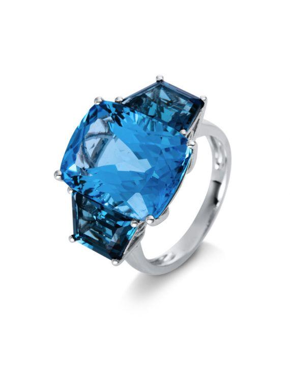 18K White Gold London Blue Topaz Ring