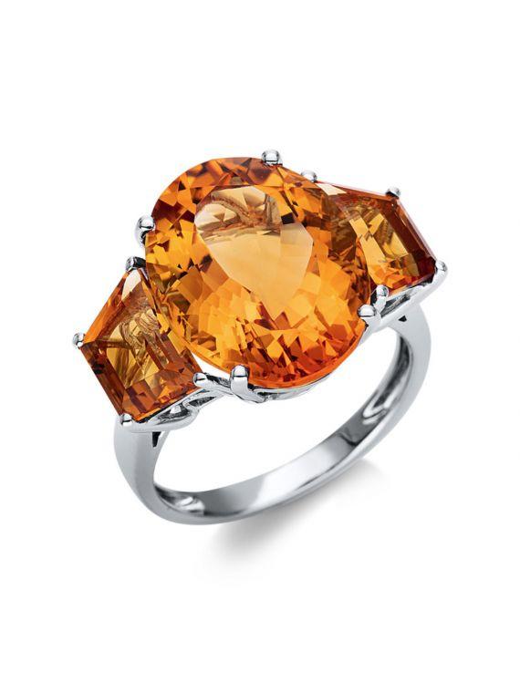 18K White Gold Citrine ring